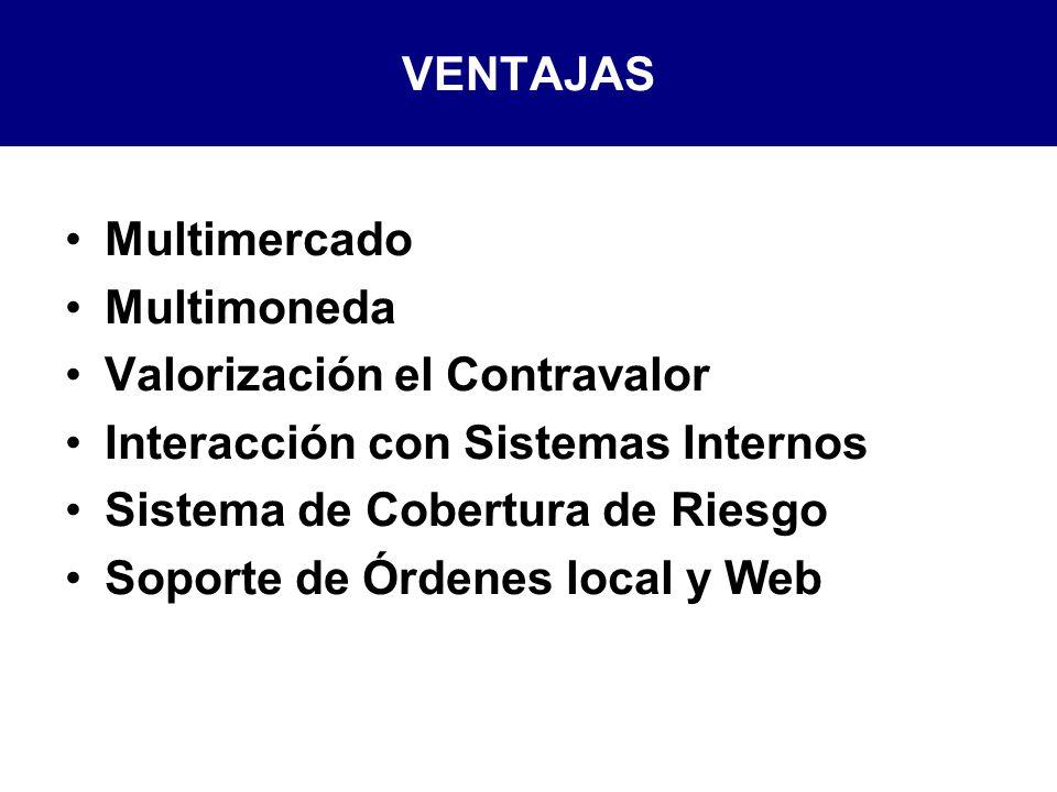 VENTAJAS Multimercado. Multimoneda. Valorización el Contravalor. Interacción con Sistemas Internos.