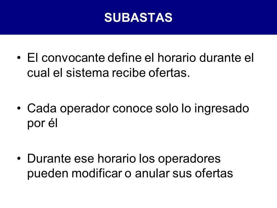 SUBASTAS El convocante define el horario durante el cual el sistema recibe ofertas. Cada operador conoce solo lo ingresado por él.