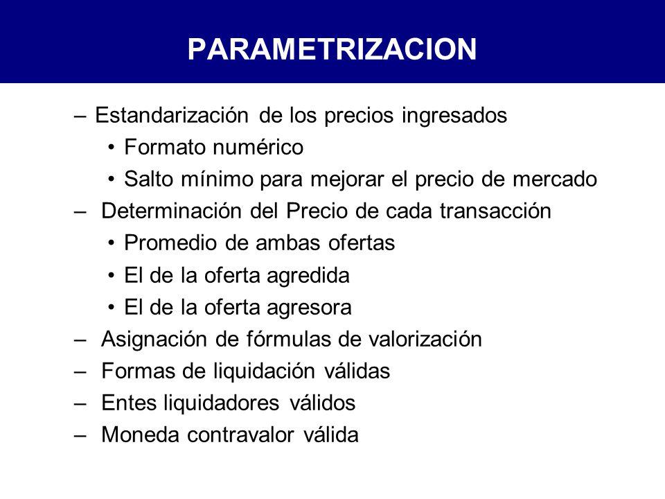 PARAMETRIZACION Estandarización de los precios ingresados