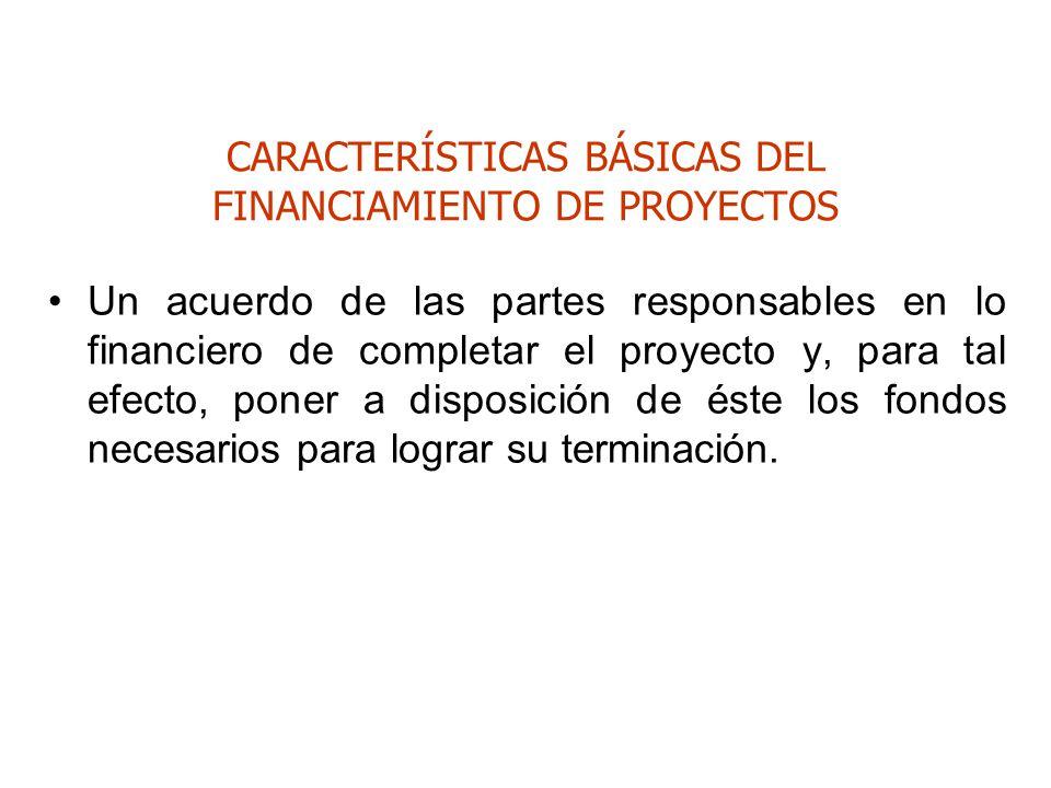 CARACTERÍSTICAS BÁSICAS DEL FINANCIAMIENTO DE PROYECTOS