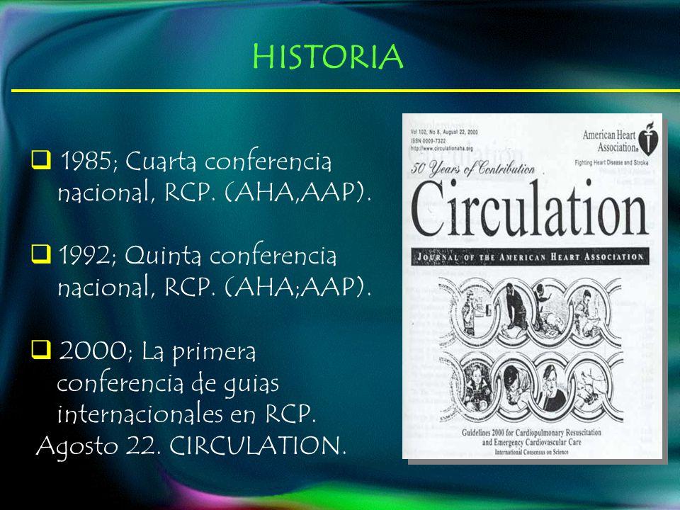 HISTORIA 1985; Cuarta conferencia nacional, RCP. (AHA,AAP).