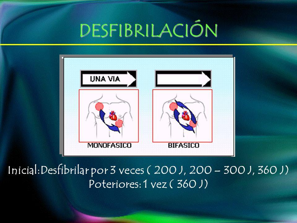 Inicial:Desfibrilar por 3 veces ( 200 J, 200 – 300 J, 360 J)
