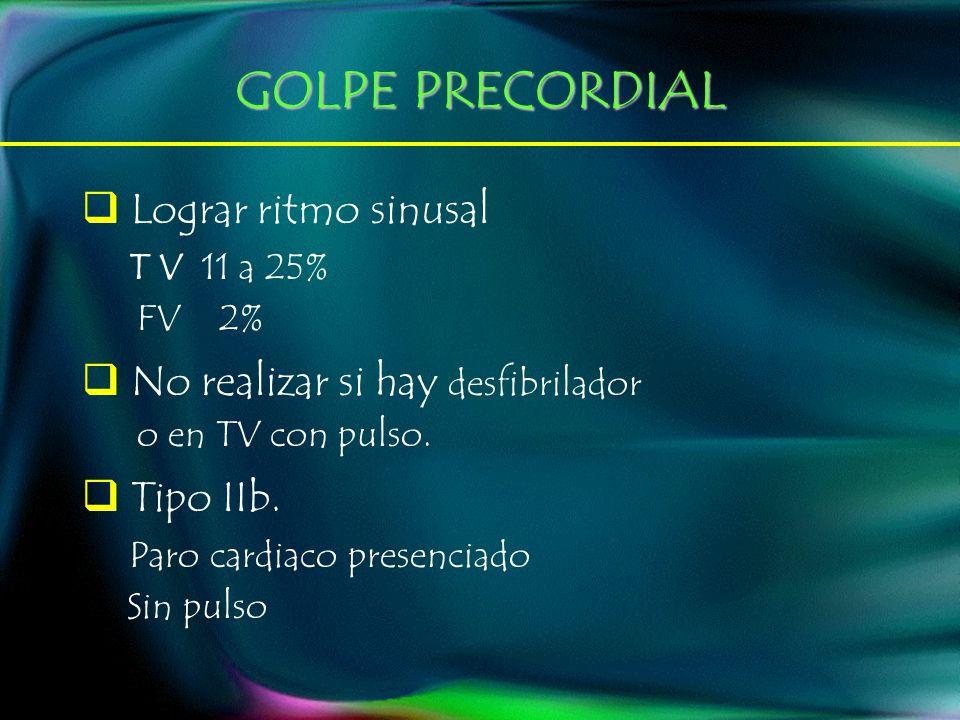GOLPE PRECORDIAL Lograr ritmo sinusal T V 11 a 25% FV 2%