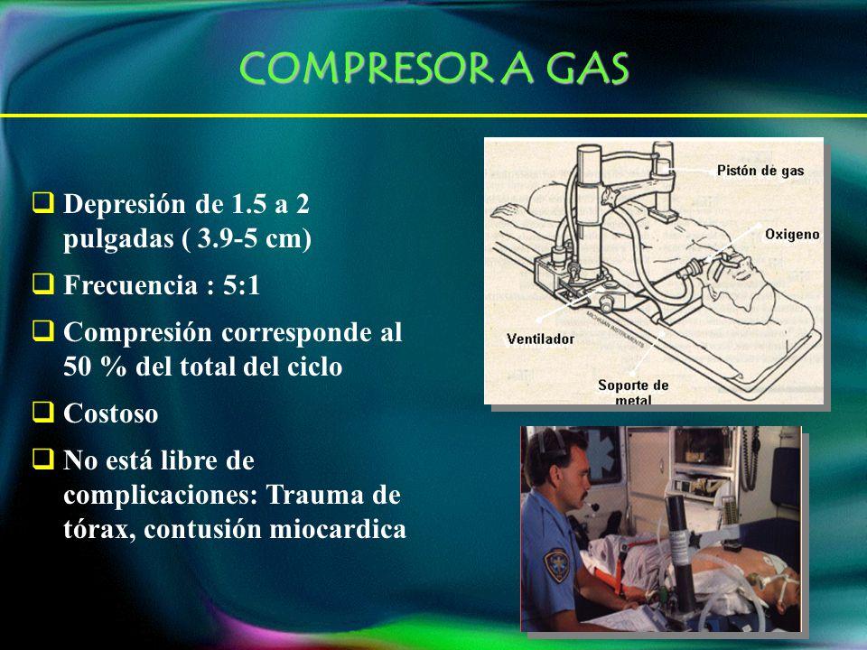 COMPRESOR A GAS Depresión de 1.5 a 2 pulgadas ( 3.9-5 cm)