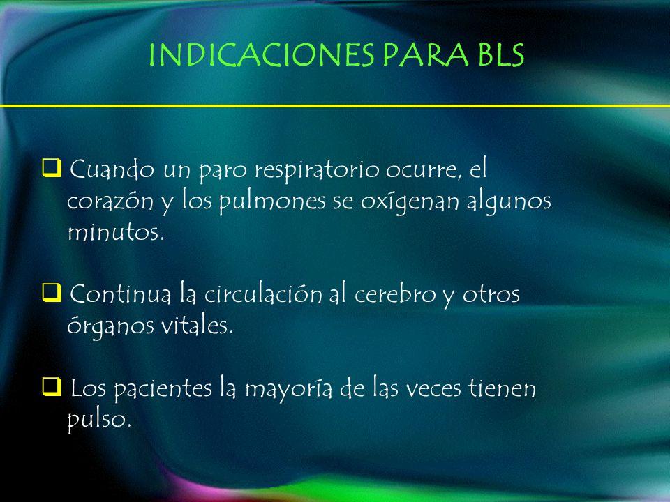 INDICACIONES PARA BLS Cuando un paro respiratorio ocurre, el