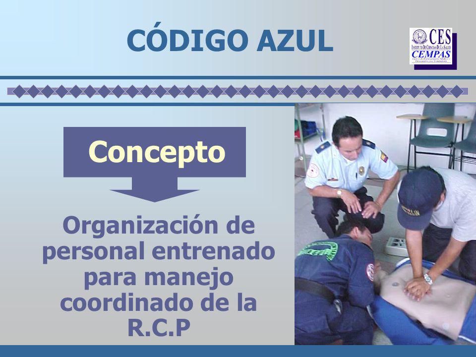 Organización de personal entrenado para manejo coordinado de la R.C.P