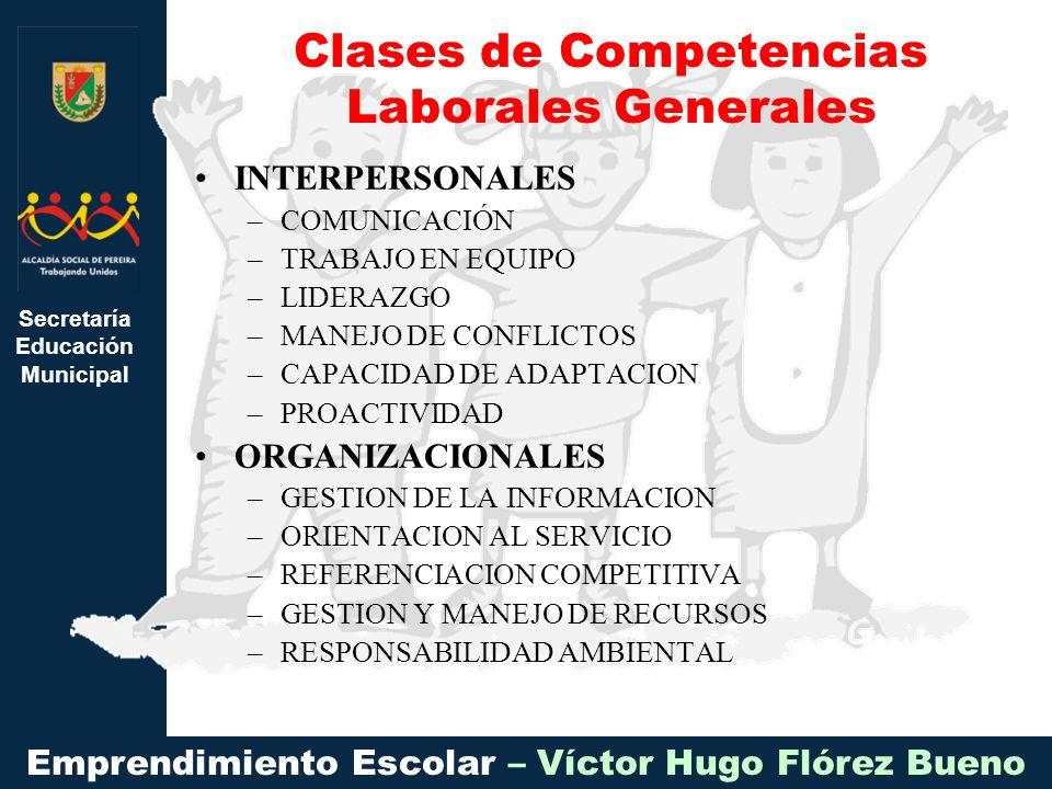Clases de Competencias Laborales Generales