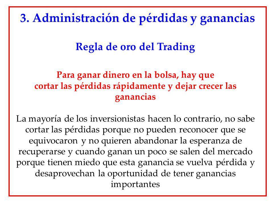 3. Administración de pérdidas y ganancias