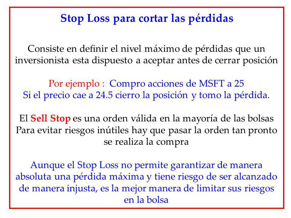 Stop Loss para cortar las pérdidas