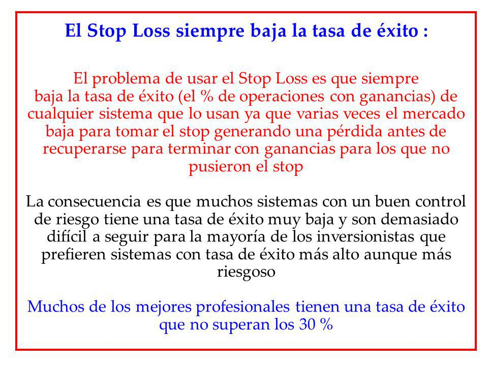 El Stop Loss siempre baja la tasa de éxito :