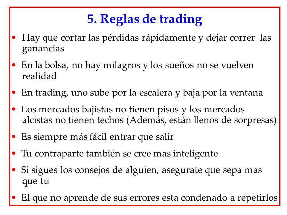 5. Reglas de trading Hay que cortar las pérdidas rápidamente y dejar correr las ganancias.