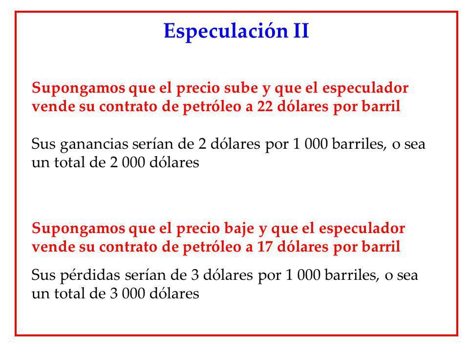 Especulación II Supongamos que el precio sube y que el especulador vende su contrato de petróleo a 22 dólares por barril.