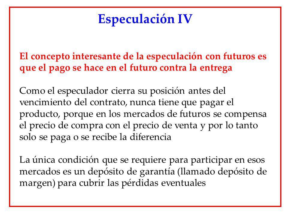 Especulación IV El concepto interesante de la especulación con futuros es que el pago se hace en el futuro contra la entrega.