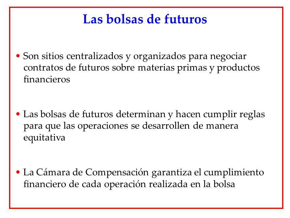 Las bolsas de futuros Son sitios centralizados y organizados para negociar contratos de futuros sobre materias primas y productos financieros.
