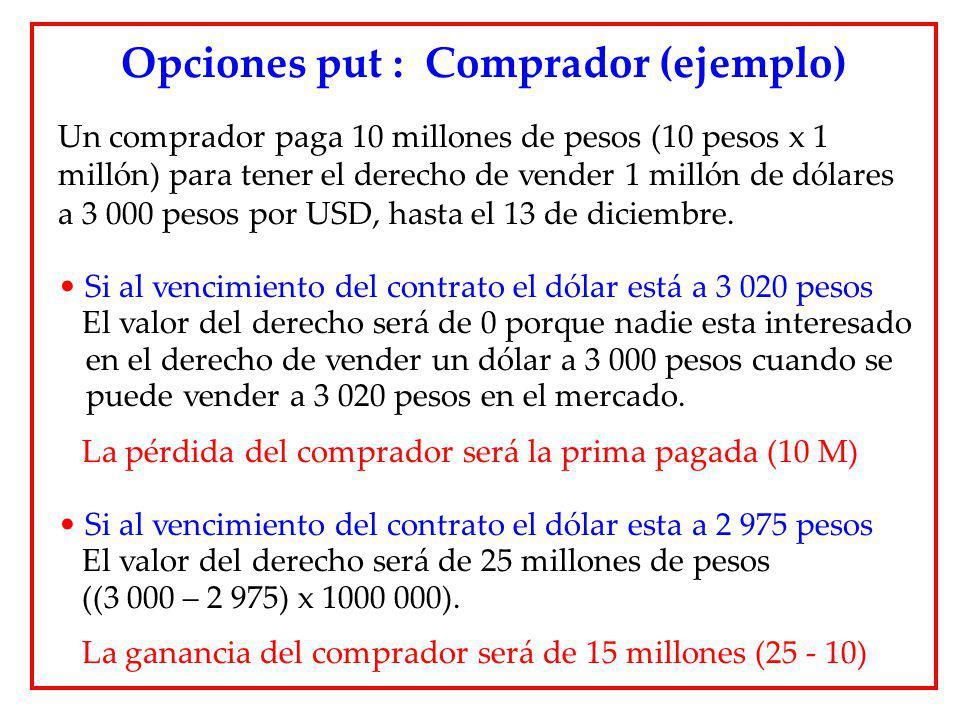 Opciones put : Comprador (ejemplo)