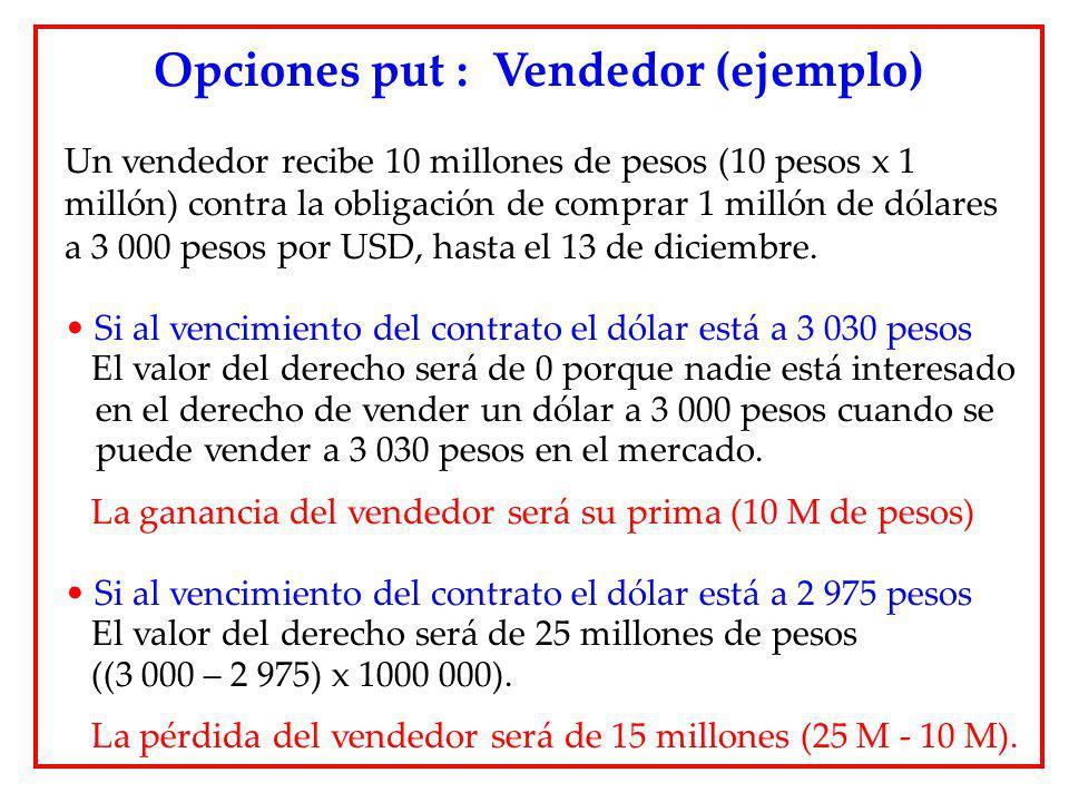 Opciones put : Vendedor (ejemplo)