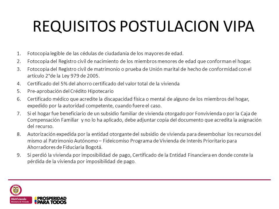 REQUISITOS POSTULACION VIPA