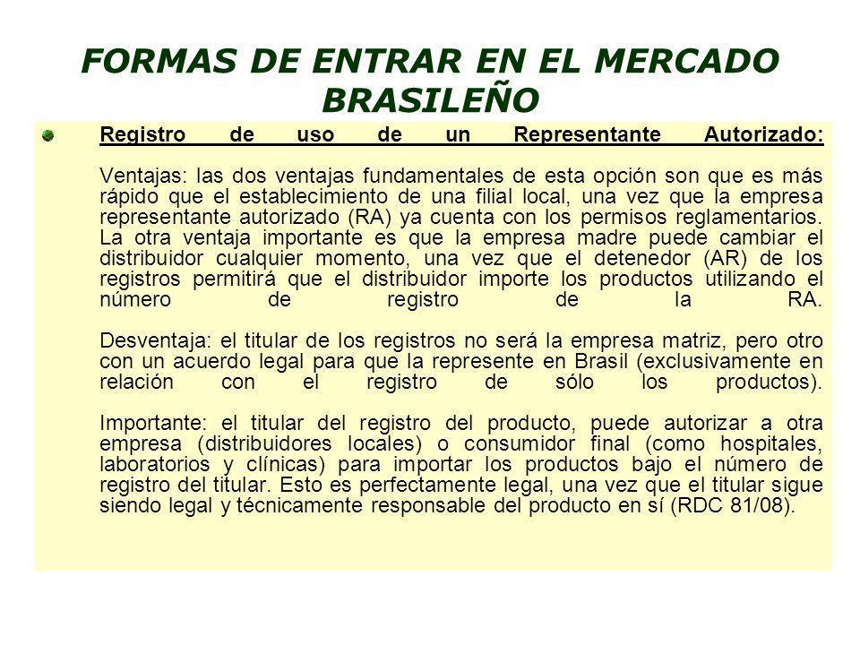 FORMAS DE ENTRAR EN EL MERCADO BRASILEÑO
