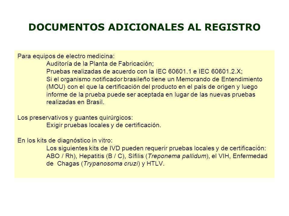 DOCUMENTOS ADICIONALES AL REGISTRO