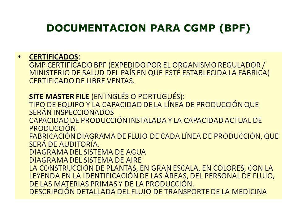 DOCUMENTACION PARA CGMP (BPF)