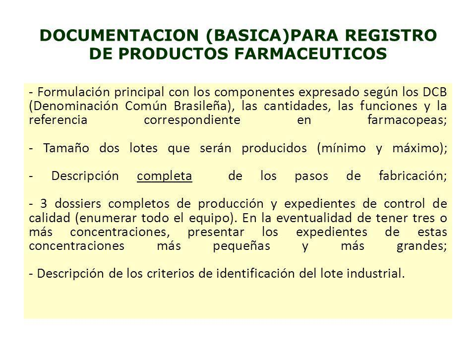 DOCUMENTACION (BASICA)PARA REGISTRO DE PRODUCTOS FARMACEUTICOS