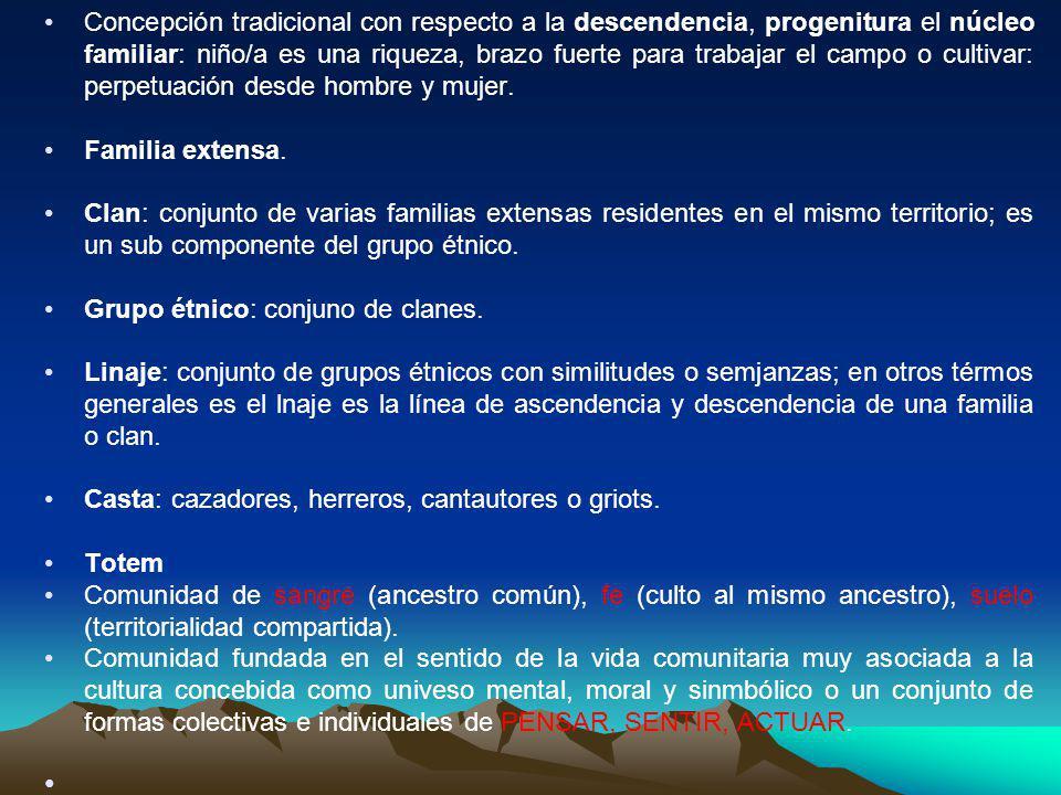 Concepción tradicional con respecto a la descendencia, progenitura el núcleo familiar: niño/a es una riqueza, brazo fuerte para trabajar el campo o cultivar: perpetuación desde hombre y mujer.