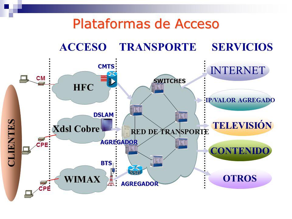 Plataformas de Acceso ACCESO TRANSPORTE SERVICIOS INTERNET HFC