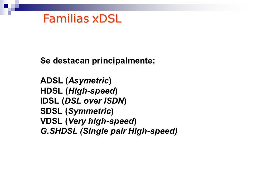 Familias xDSL Se destacan principalmente: ADSL (Asymetric)