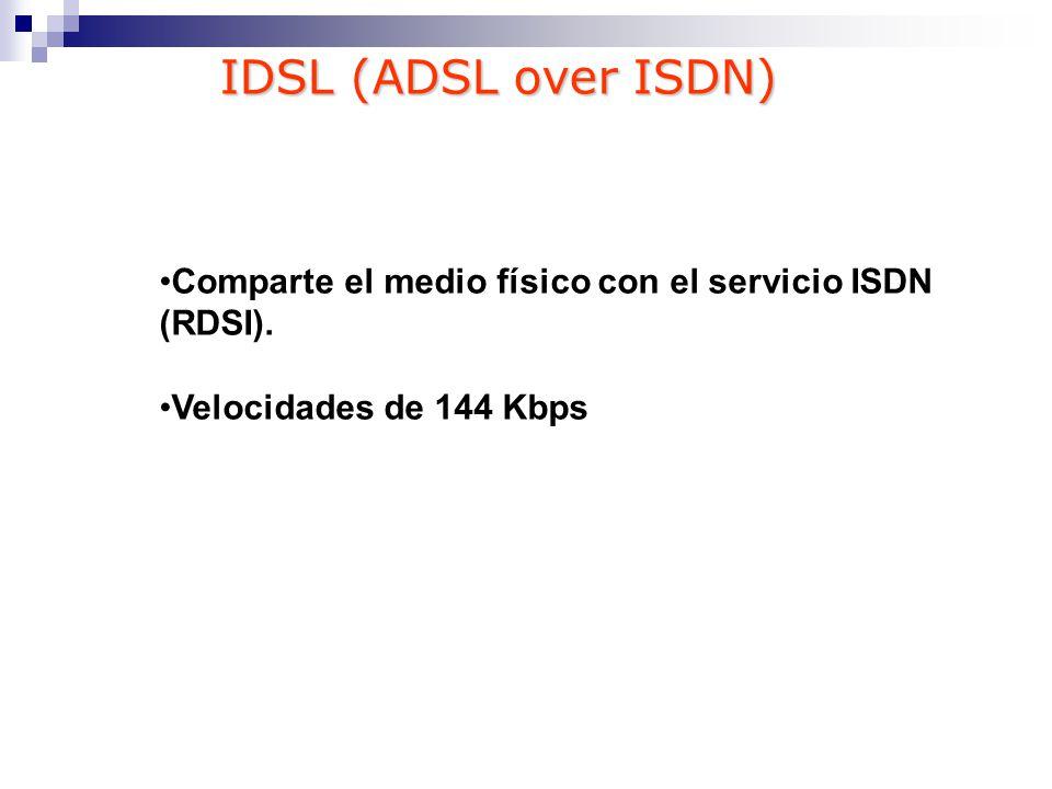 IDSL (ADSL over ISDN) Comparte el medio físico con el servicio ISDN (RDSI). Velocidades de 144 Kbps