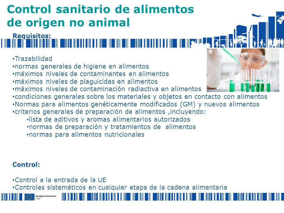 Control sanitario de alimentos de origen no animal