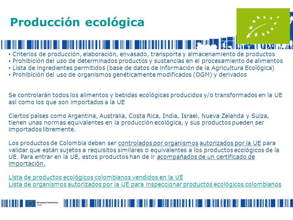 Producción ecológica Criterios de producción, elaboración, envasado, transporte y almacenamiento de productos.