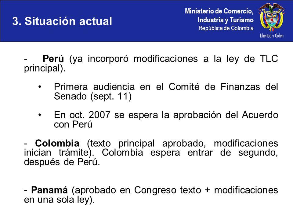 3. Situación actual - Perú (ya incorporó modificaciones a la ley de TLC principal).