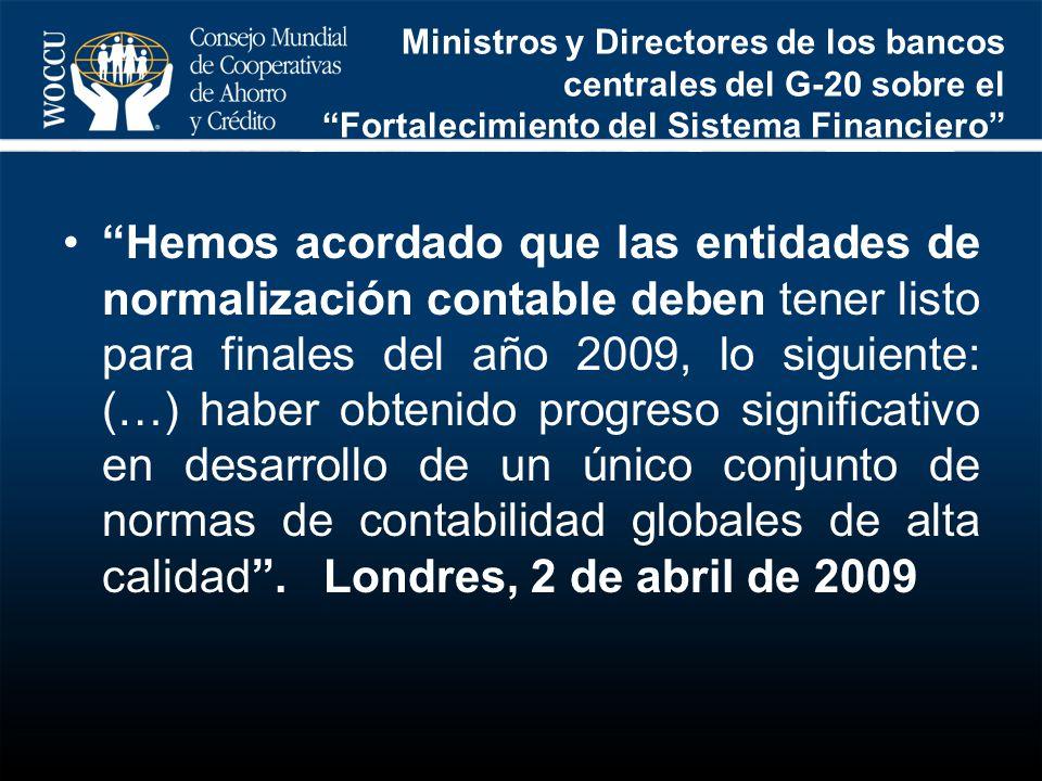 Ministros y Directores de los bancos centrales del G-20 sobre el Fortalecimiento del Sistema Financiero