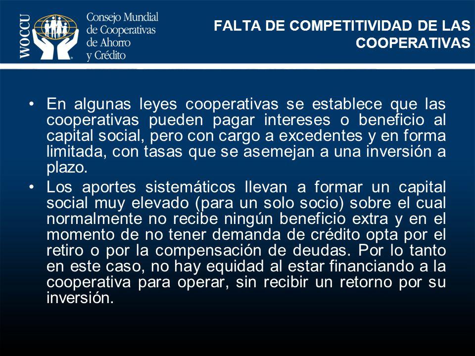 FALTA DE COMPETITIVIDAD DE LAS COOPERATIVAS