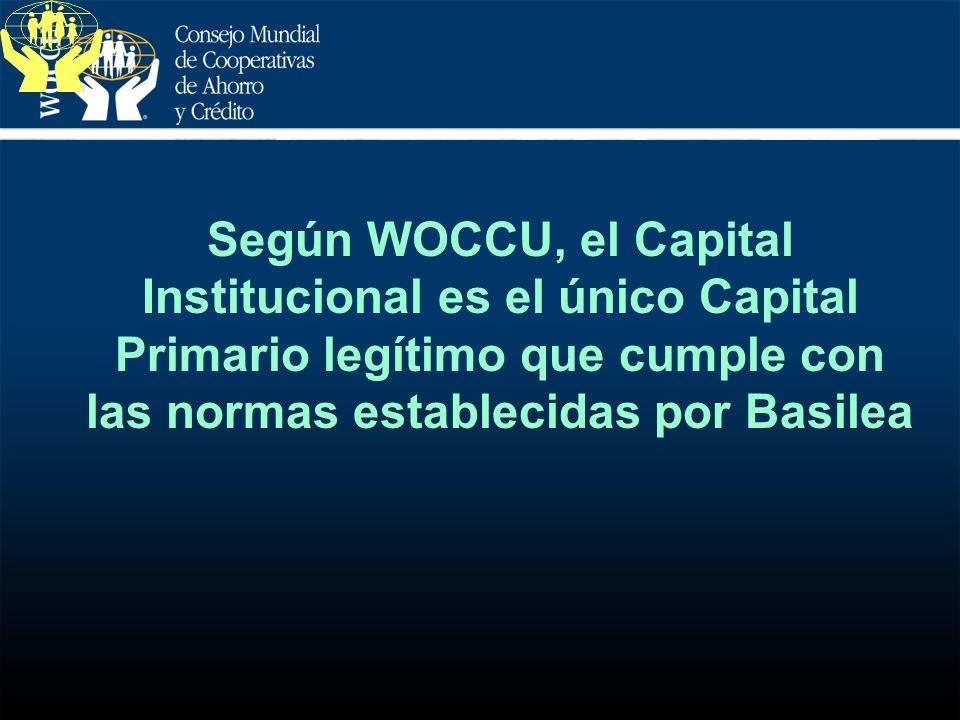 Según WOCCU, el Capital Institucional es el único Capital Primario legítimo que cumple con las normas establecidas por Basilea