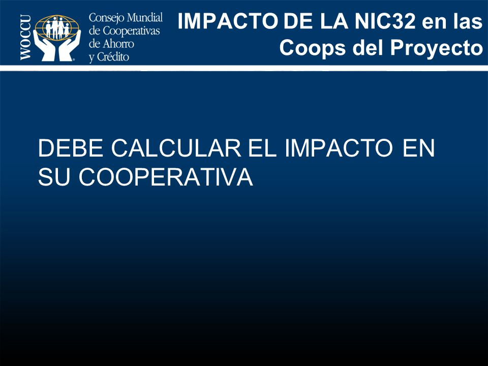 IMPACTO DE LA NIC32 en las Coops del Proyecto