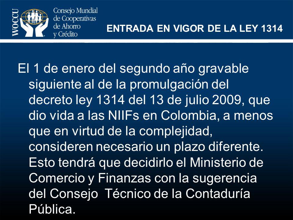 ENTRADA EN VIGOR DE LA LEY 1314