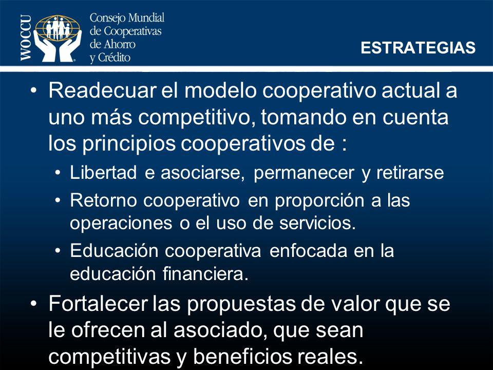 ESTRATEGIAS Readecuar el modelo cooperativo actual a uno más competitivo, tomando en cuenta los principios cooperativos de :