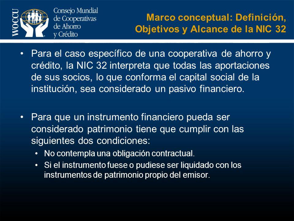 Marco conceptual: Definición, Objetivos y Alcance de la NIC 32