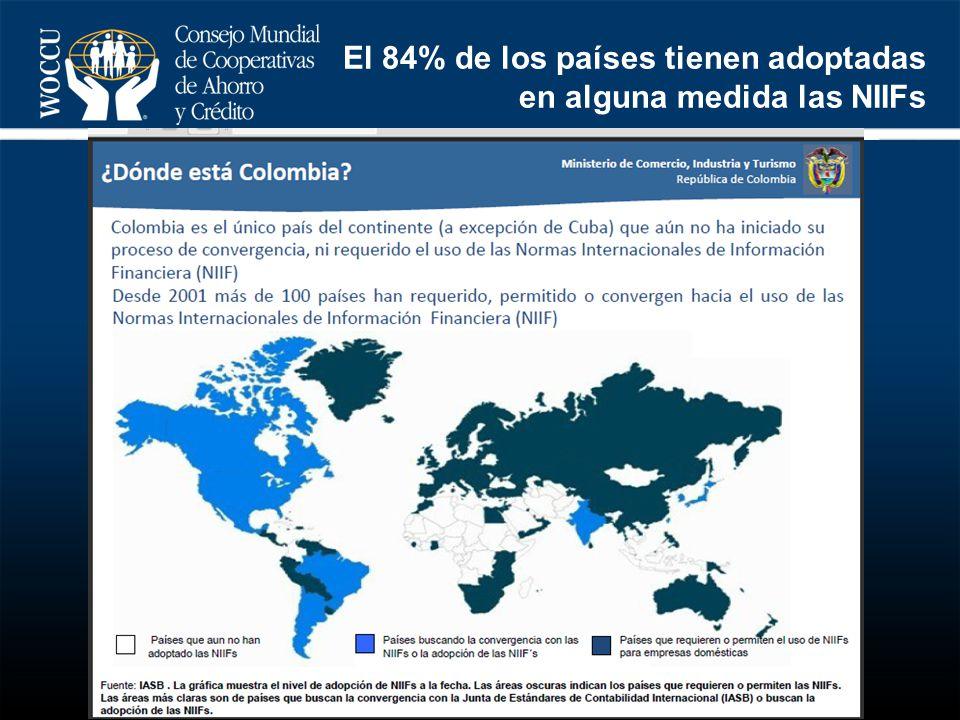 El 84% de los países tienen adoptadas en alguna medida las NIIFs