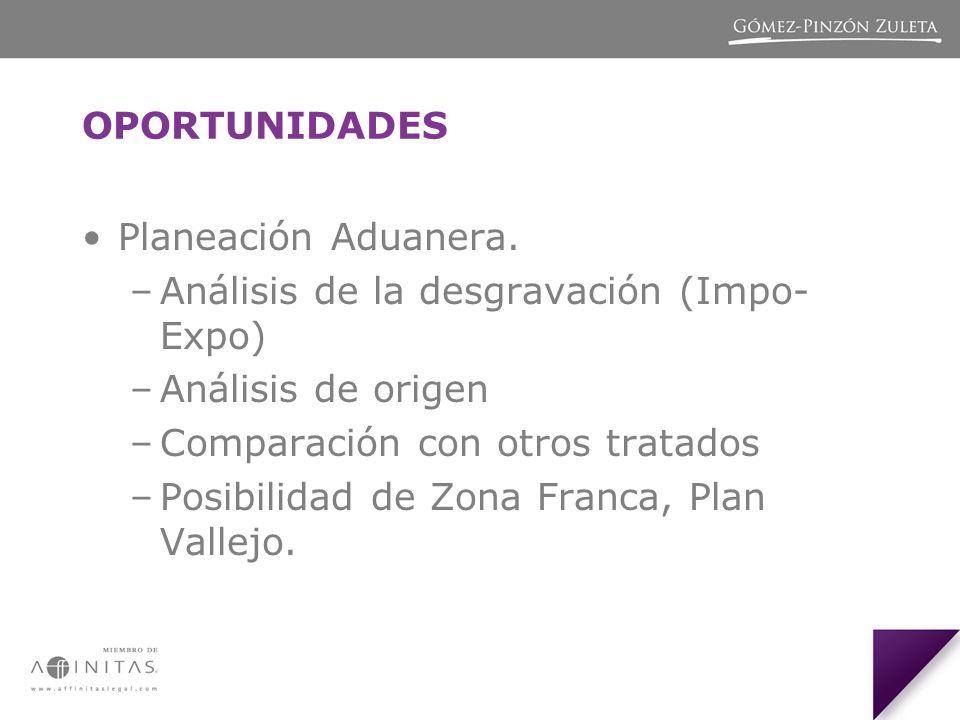 OPORTUNIDADES Planeación Aduanera. Análisis de la desgravación (Impo-Expo) Análisis de origen. Comparación con otros tratados.