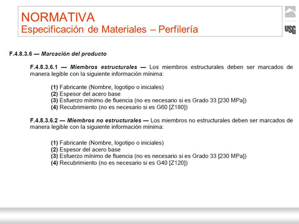 NORMATIVA Especificación de Materiales – Perfilería