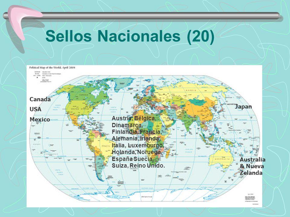 Sellos Nacionales (20) Canada USA Japan Mexico