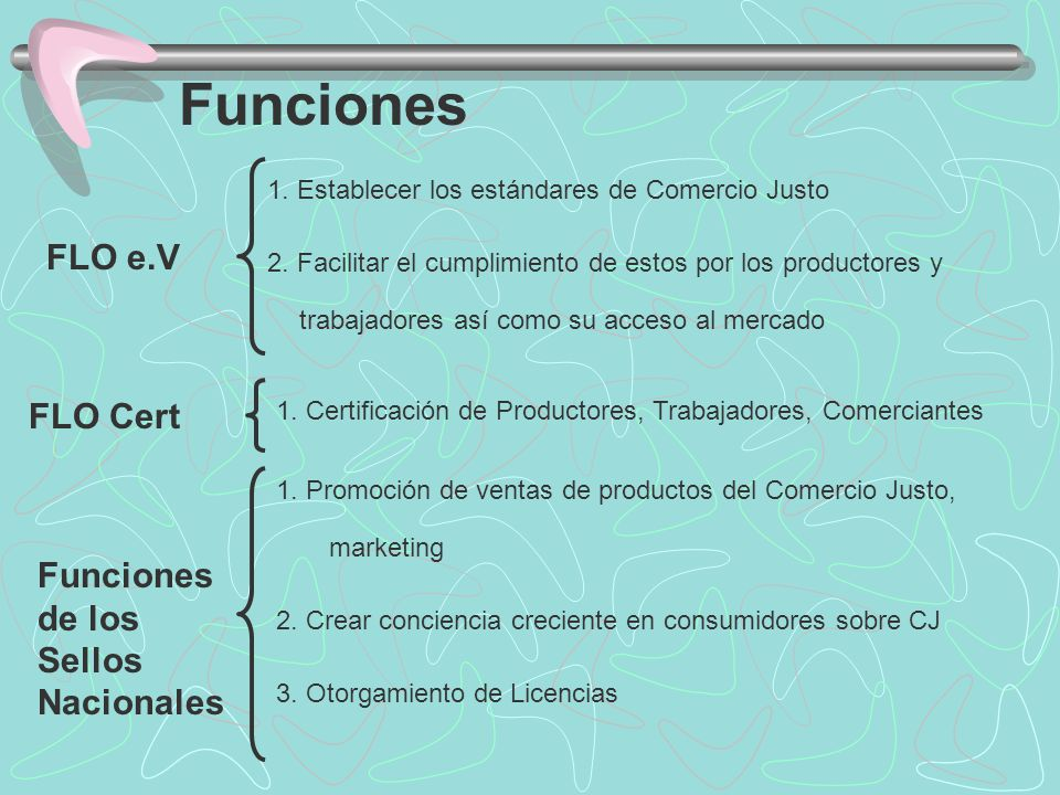 Funciones FLO e.V FLO Cert Funciones de los Sellos Nacionales