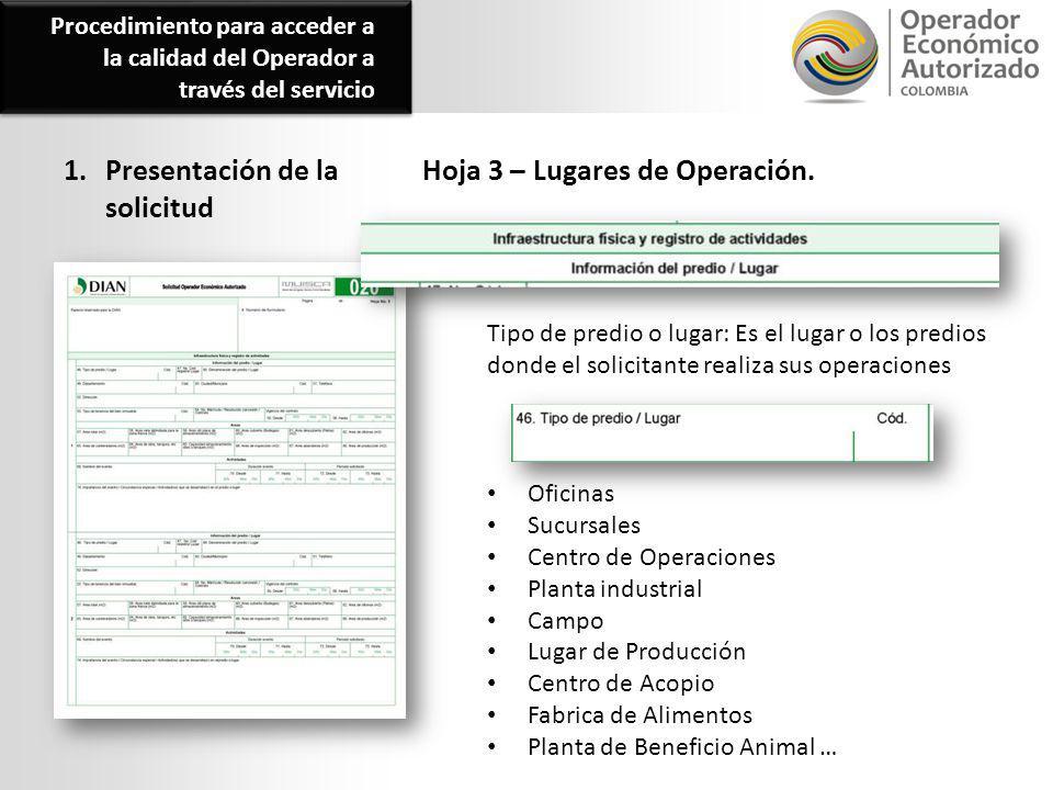 1. Presentación de la solicitud Hoja 3 – Lugares de Operación.