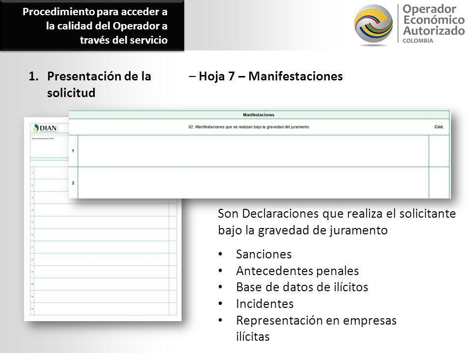 1. Presentación de la solicitud – Hoja 7 – Manifestaciones