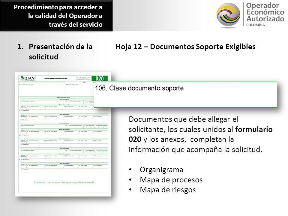 1. Presentación de la solicitud Hoja 12 – Documentos Soporte Exigibles