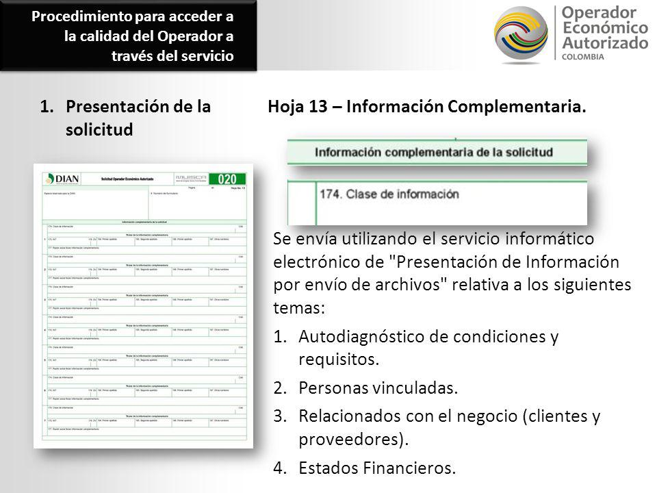 1. Presentación de la solicitud Hoja 13 – Información Complementaria.