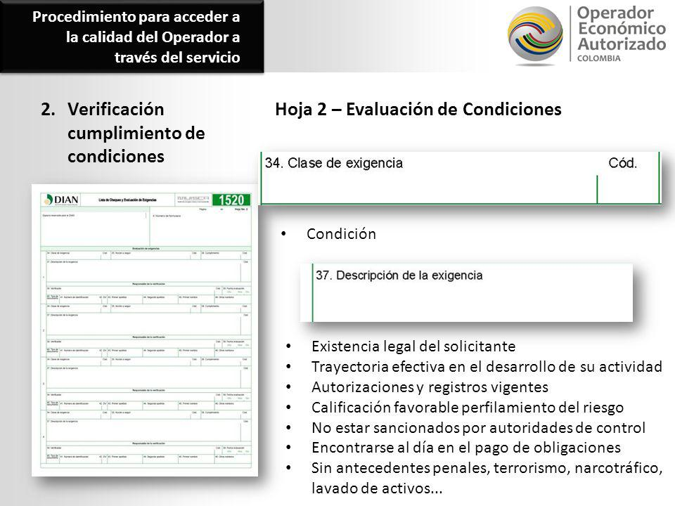 2. Verificación cumplimiento de condiciones