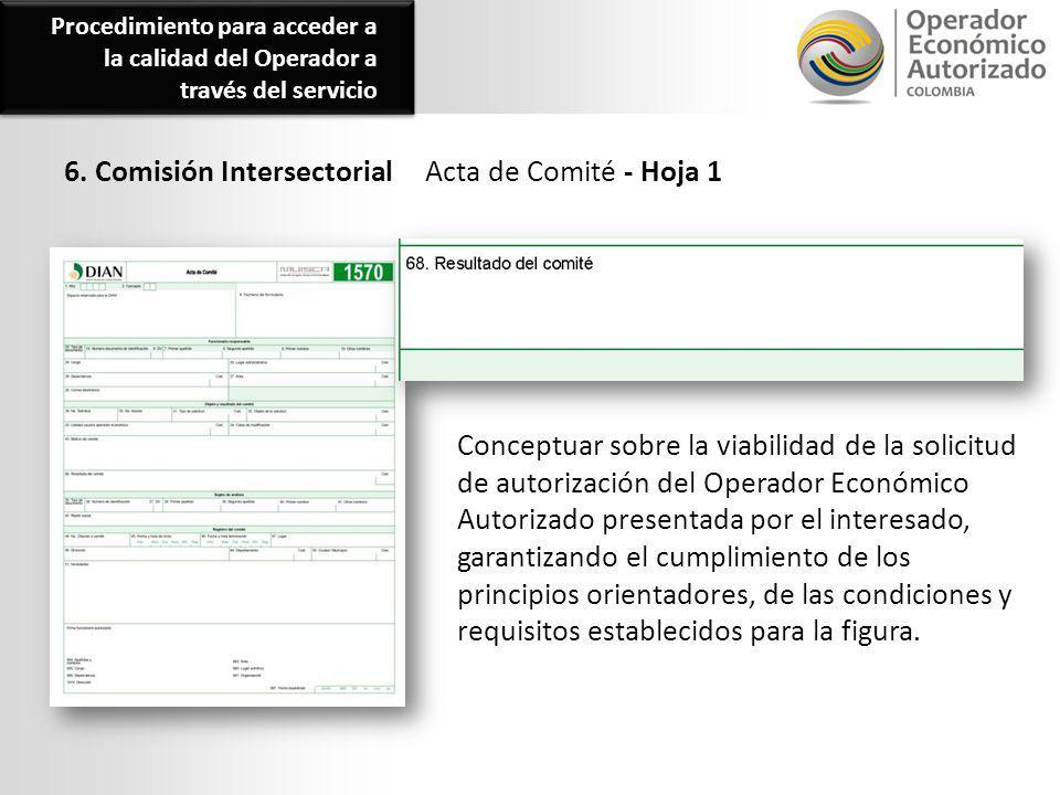 6. Comisión Intersectorial Acta de Comité - Hoja 1